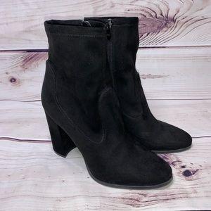 Marc Fisher • black suede ankle boot block heel